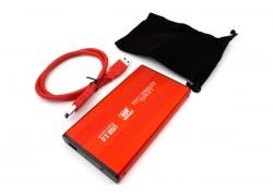 Кейс для жесткого диска 2.5'' HDD010 металлический (красный)