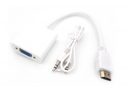 Конвертер HDMI (M) --> VGA (F) (кабель 15см) белый