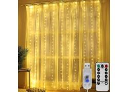 Огонек OG-LDG08 гирлянда-штора LED (3х3м,300 ламп,белая-теплая)