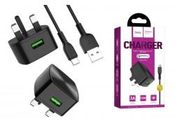 Сетевое зарядное устройство (3х фазное) USB + кабель Type-C HOCO C70B single port QC3.0 18W charger черный (3 фазная розетка)