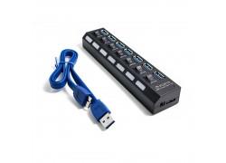 Разветвитель USB HUB (USB3.0 --> 7 USB3.0) с кнопками включения и кабелем (цвет черный)