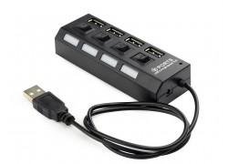 Разветвитель USB HUB (USB2.0 --> 4 USB2.0) с кнопками включения (цвет черный)