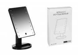 Зеркало с LED-подсветкой, USB, 4хААА, пластик, стекло, 16,7х27см, цвет ЧЕРНЫЙ, 347-095
