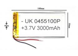 Аккумулятор универсальный 100x50x4 3.7V 3000mAh (0455100P)