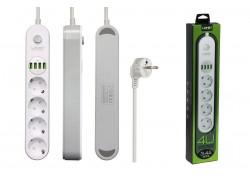 Сетевой фильтр питания LDNIO SE4432 (4 розетки + 4 USB)