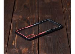 Пластиковая накладка iPhone X прозрачная с черным бампером