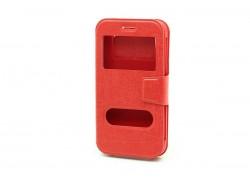 Чехол книжка унив, имитация царапин (силик. вставка) 5,5 дюймов, красный