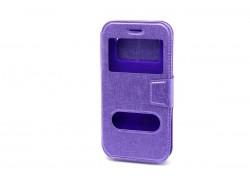Чехол книжка унив, имитация царапин (силик. вставка) 5,5 дюймов, фиолетовый