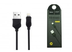 Кабель для iPhone HOCO X6 Khaki lightning cable черный, 1 м