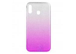 Силиконовая накладка Samsung A20 (A205) с блестками цвет в ассортименте
