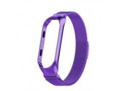 Браслет металлический для XIAOMI MI Band 5 (Миланское плетение)  цвет фиолетовый