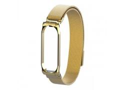 Браслет металлический для XIAOMI MI Band 5 (Миланское плетение)  цвет матово золотистый
