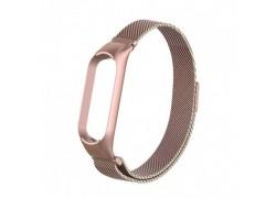 Браслет металлический для XIAOMI MI Band 5 (Миланское плетение)  цвет глянцево розовый