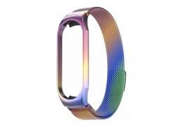 Браслет металлический для XIAOMI MI Band 5 (Миланское плетение)  цвет радужный