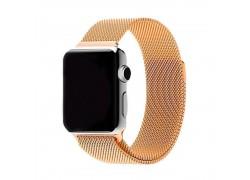 """Металлический магнитный браслет  """"Миланское плетение"""" для Apple Watch 42-44 мм цвет бронза"""