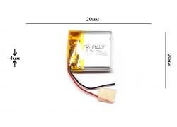 Аккумулятор универсальный 20x20x4 3.7V 200mAh (042020P)