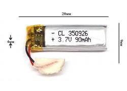 Аккумулятор универсальный 28x9x4 3.7V 100mAh (350926P)