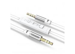 Кабель аудио AUX EZRA LA01 Белый с микрофоном (Джек 3,5 мм на Джек 3,5 мм) 1.5м