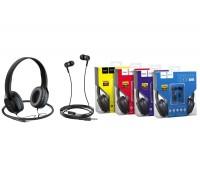 Внешние наушники HOCO W24 Enlighten headphones with mic set черно/голубая