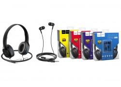 Внешние наушники/гарнитура  HOCO W24 Enlighten headphones with mic set черно/голубая
