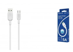 Кабель USB BOROFONE BX33 5A Billow flash Type-C cable (белый) 1 метр