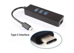 Адаптер USB Type-C (M) --> 3 x USB3.0 (F) + RJ45 (F)