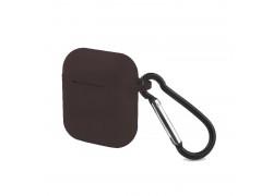 Чехол Soft-Touch для гарнитуры вакуумной беспроводной AirPods уголь матовый с карабином и нижней заглушкой