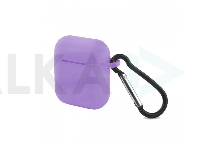 Чехол Soft-Touch для гарнитуры вакуумной беспроводной AirPods сиреневый с карабином и нижней заглушкой