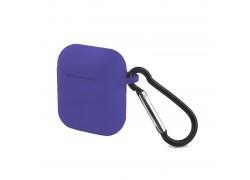 Чехол Soft-Touch для гарнитуры вакуумной беспроводной AirPods синий кобальт с карабином и нижней заглушкой