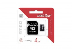 Карта памяти Smartbuy 4GB MicroSD (Class 4) без адаптера/ с адаптером