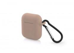 Чехол Soft-Touch для гарнитуры вакуумной беспроводной AirPods розовый песок с карабином и нижней заглушкой