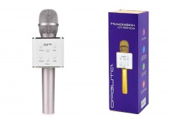 Караоке микрофон Орбита OT-ERM04 (Серебрянный, Bluetooth, динамики, USB)