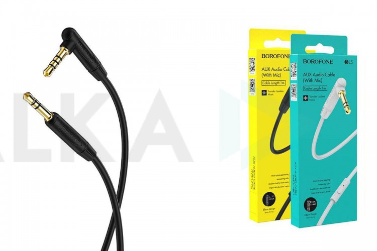 Кабель удлинитель BOROFONE BL5 AUX Audio cable 3.5 1 метр черный (с микрофоном)