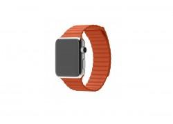 Кожаный ремешок с магнитной застежкой для Apple Watch 38/40 mm оранжевый