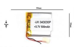 Аккумулятор универсальный 30x30x4 3.7V 500mAh (043030P)