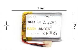 Аккумулятор универсальный 35x25x6 3.7V 500mAh (602535P)