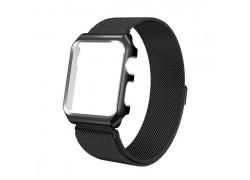 Металлический магнитный браслет с бампером для Apple Watch 38-40 мм цвет черный