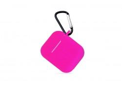 Чехол Soft-Touch для гарнитуры вакуумной беспроводной AirPods розовый с карабином и нижней заглушкой
