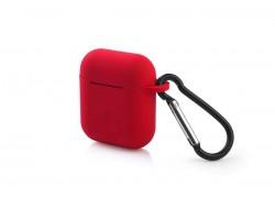 Чехол Soft-Touch для гарнитуры вакуумной беспроводной AirPods красный с карабином и нижней заглушкой
