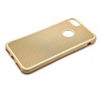 Силиконовая накладка мягкая плетеная Рогожа Iphone 7 золотая