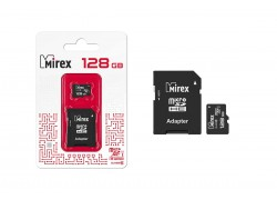Карта памяти microSDХC MIREX 128 GB UHS-I U1 (сlass 10) с адаптером