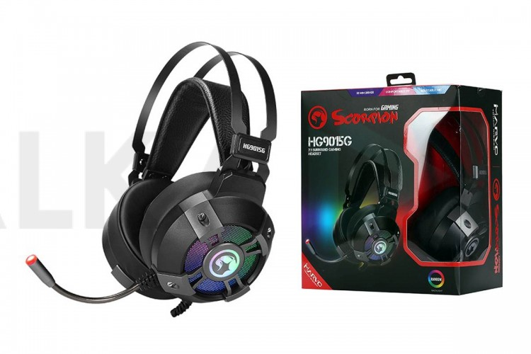 Наушники игровые MARVO HG9015G с микрофоном, проводные полноразмерные, 2,2 метра,  чёрный