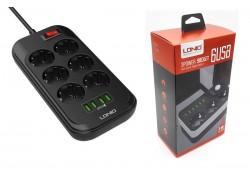 Сетевой фильтр питания LDNIO SE6403 (6 розеток + 4 USB)