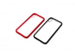 Чехол накладка iPhone X стекло с металлическим бампером на магните (особая прочность)