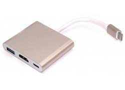 Кабель-адаптер USB-C 3.1 --> HDMI (F) + USB3.0 + USB-C port