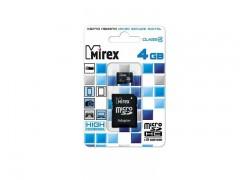 Карта памяти microSDHC с адаптером MIREX  4GB (class 4)
