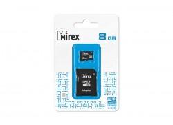 Карта памяти microSDHC MIREX 8 GB (class 4) с адаптером
