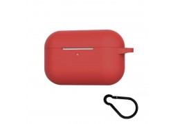Чехол Soft-Touch для гарнитуры вакуумной беспроводной AirPods PRO красный с карабином и нижней заглушкой