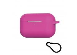 Чехол Soft-Touch для гарнитуры вакуумной беспроводной AirPods PRO с логотипом ярко-розовый с карабином и нижней заглушкой