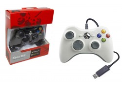 Геймпад проводной для X-BOX 360 белый (упаковка красная, картон)